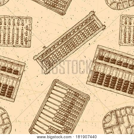 Seamless pattern with different vintage abacuses. Vector illustration in ink hand drawn style.