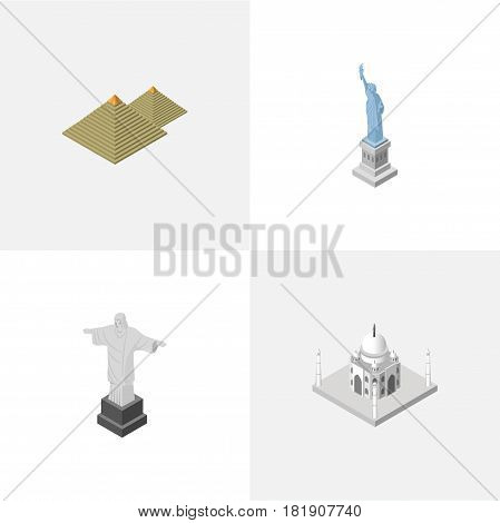 Isometric Travel Set Of Rio, New York, Egypt And Other Vector Objects. Also Includes Redeemer, Egypt, Attraction Elements.