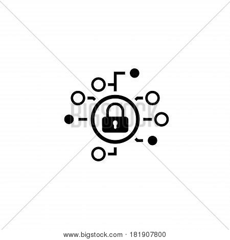 Cyber Security Icon. Flat Design. Security concept with a padlock and a points. Isolated Illustration. App Symbol or UI element.