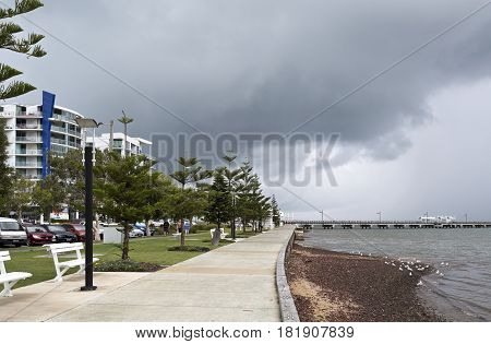 WOODY POINT, AUSTRALIA - MARCH 19, 2017: View of Woody Point foreshore and jetty in the southern end of the Redcliffe Peninsula Queensland Australia