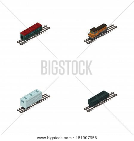 Isometric Wagon Set Of Railroad Carriage, Subway Vehicle, Carbon Railway Container And Other Vector Objects. Also Includes Carriage, Wagon, Metal Elements.