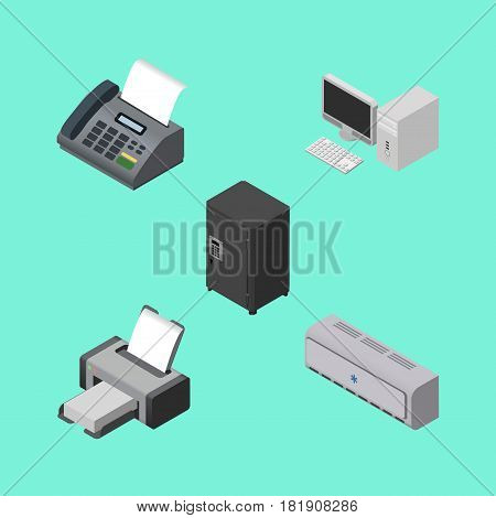 Isometric Business Set Of Wall Cooler, Computer, Strongbox And Other Vector Objects. Also Includes Machine, Fax, Printing Elements.
