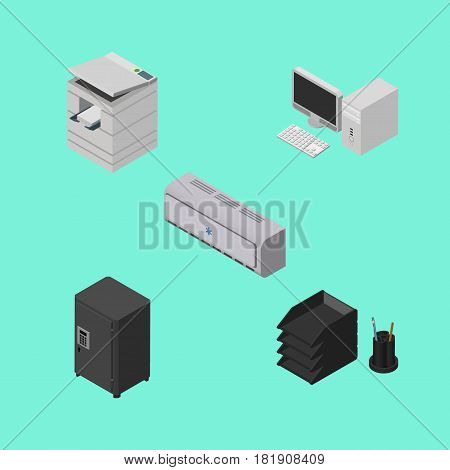 Isometric Business Set Of Scanner, Desk File Rack, Strongbox And Other Vector Objects. Also Includes Cooler, Computer, Locked Elements.