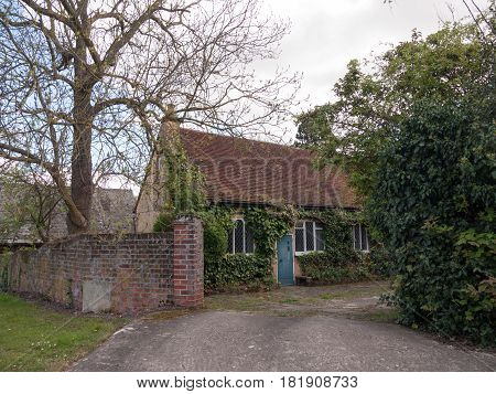 An Old English House With Leaves And Plants Ivy Growing On The Bricks
