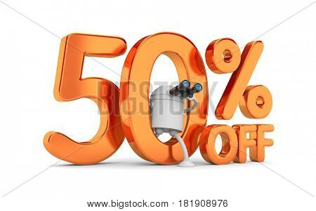 Robot search for new discounts. 3d illustration