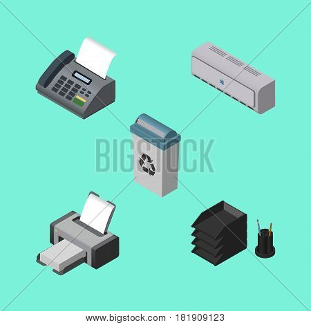 Isometric Cabinet Set Of Office Phone, Desk File Rack, Printing Machine And Other Vector Objects. Also Includes Junk, Bin, Trash Elements.