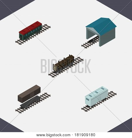 Isometric Wagon Set Of Subway Vehicle, Depot, Lumber Shipping And Other Vector Objects. Also Includes Container, Railway, Wagon Elements.