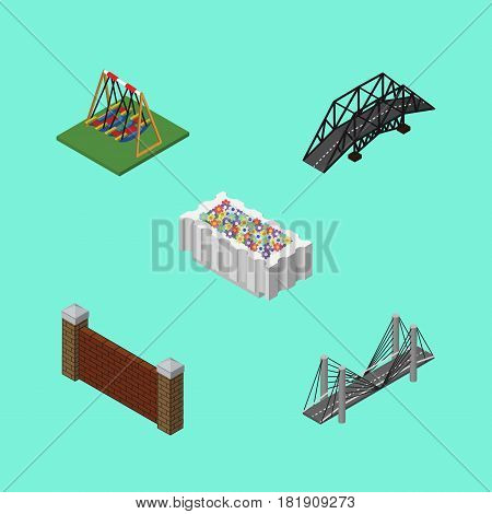 Isometric City Set Of Flower Decoration, Expressway, Seesaw And Other Vector Objects. Also Includes Swing, Bridge, Barrier Elements.