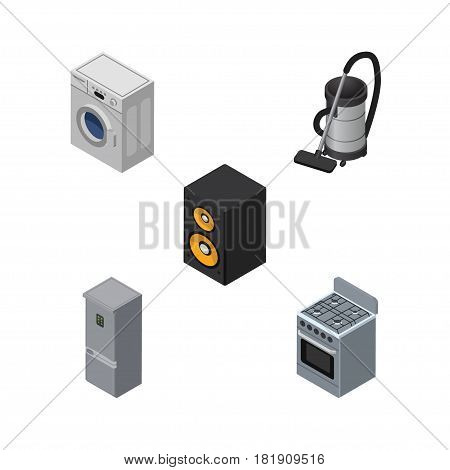 Isometric Appliance Set Of Kitchen Fridge, Laundry, Vac And Other Vector Objects. Also Includes Vac, Refrigerator, Loudspeaker Elements.