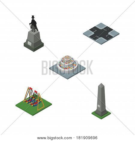 Isometric Architecture Set Of Sculpture, Seesaw, Dc Memorial And Other Vector Objects. Also Includes Sculpture, Swing, Crossroad Elements.