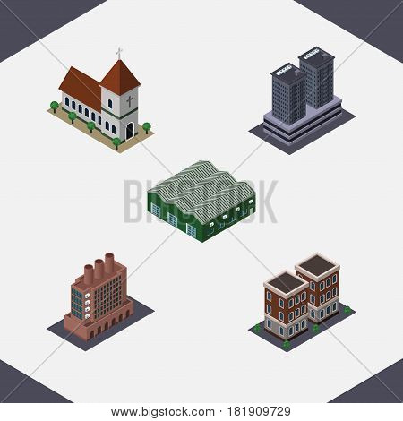 Isometric Urban Set Of Chapel, Tower, Industry And Other Vector Objects. Also Includes Home, Tower, Depot Elements.