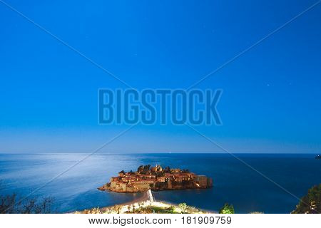The island of Sveti Stefan at night. Montenegro, the Adriatic Sea, the Balkans.