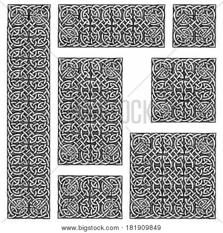 Seamless celtic knots patterns in ink hand drawn style.