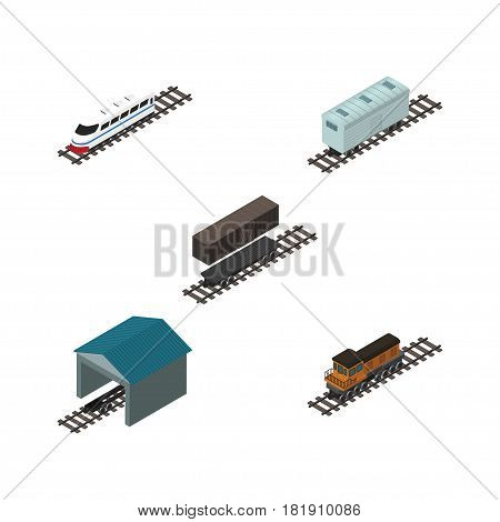 Isometric Wagon Set Of Train, Depot, Underground And Other Vector Objects. Also Includes Railway, Locomotive, Speed Elements.