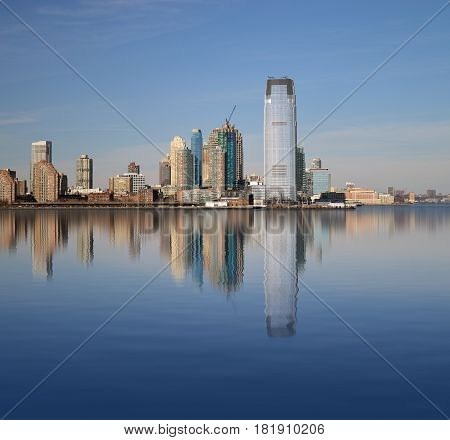 View of Jersey City from a Hudson River