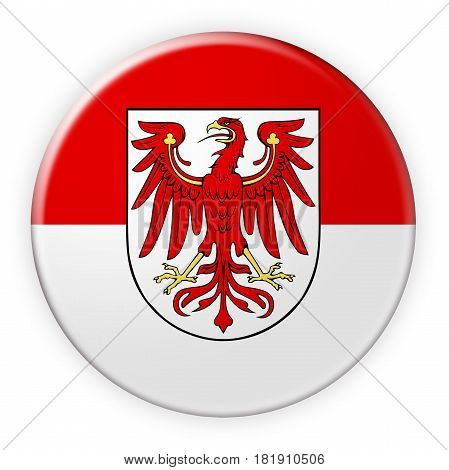 Germany Federal State Button: Brandenburg Flag Badge 3d illustration on white background