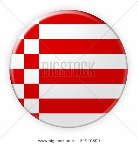 Germany Federal State Button: Bremen Flag Badge 3d illustration on white background