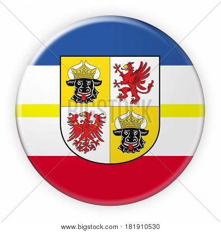 Germany Federal State Button: Mecklenburg-Vorpommern Flag Badge 3d illustration on white background
