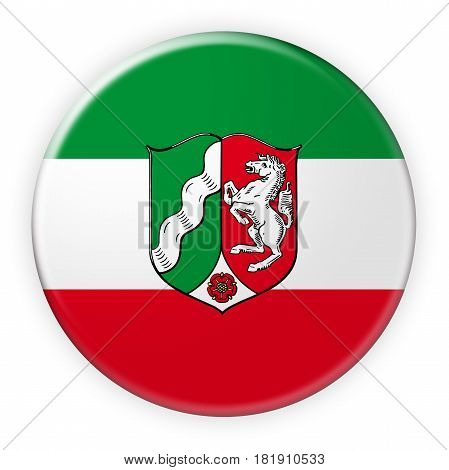 Germany Federal State Button: North Rhine-Westphalia Flag Badge 3d illustration on white background