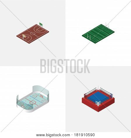 Isometric Sport Set Of American Football, Fighting, B-Ball And Other Vector Objects. Also Includes American, Basketball, Fighting Elements.