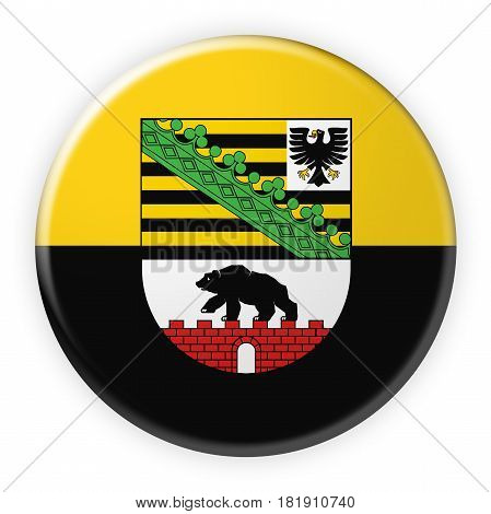 Germany Federal State Button: Saxony-Anhalt Flag Badge 3d illustration on white background