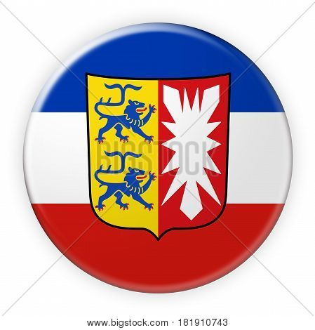 Germany Federal State Button: Schleswig-Holstein Flag Badge 3d illustration on white background