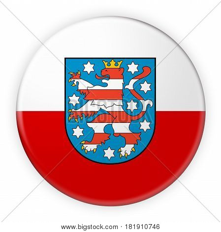 Germany Federal State Button: Thuringia Flag Badge 3d illustration on white background