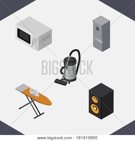 Isometric Electronics Set Of Music Box, Vac, Microwave And Other Vector Objects. Also Includes Board, Stove, Vacuum Elements.