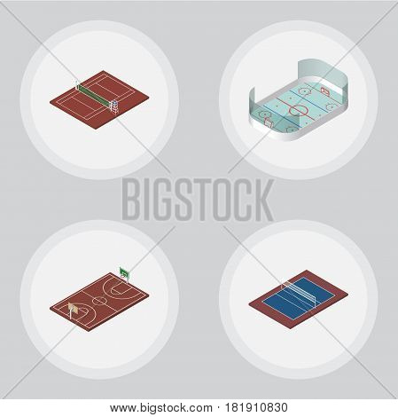 Isometric Sport Set Of Tennis, B-Ball, Ice Games And Other Vector Objects. Also Includes Playground, B-Ball, Volleyball Elements.