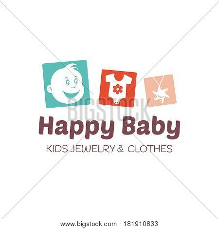 Baby shop logo template. Editable vector illustration