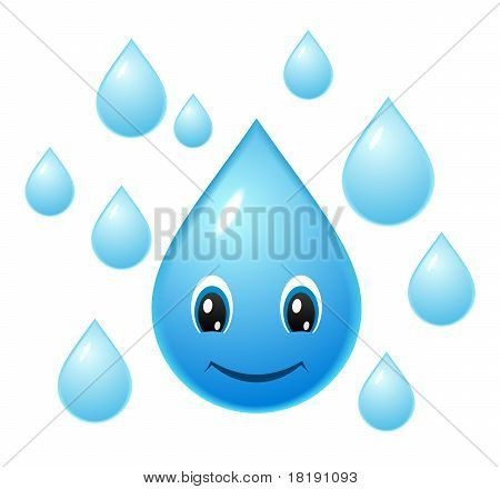 Vector cartoon icon of smiling water droplet poster