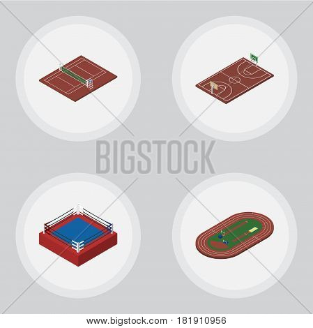 Isometric Sport Set Of B-Ball, Run Stadium, Fighting And Other Vector Objects. Also Includes B-Ball, Field, Arena Elements.