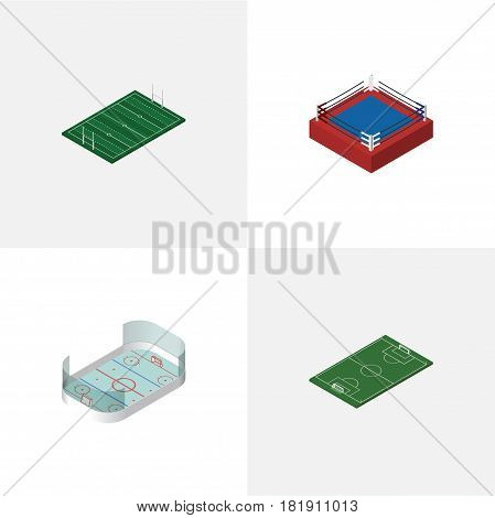 Isometric Sport Set Of Ice Games, Fighting, Soccer And Other Vector Objects. Also Includes Rugby, Soccer, Playground Elements.
