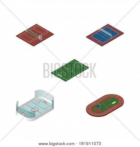 Isometric Competition Set Of Ice Games, Tennis, Volleyball And Other Vector Objects. Also Includes Football, Soccer, Stadium Elements.