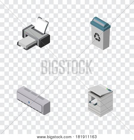 Isometric Work Set Of Printing Machine, Scanner, Garbage Container And Other Vector Objects. Also Includes Photocopier, Conditioner, Printer Elements.