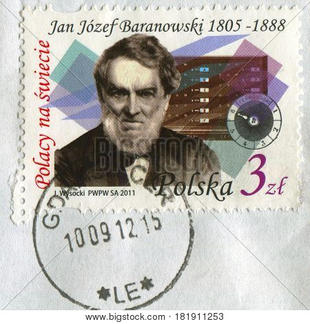 GOMEL, BELARUS, APRIL 16, 2017. Stamp printed in Poland shows image of  Jan Jozef Baranowski is a Polish economist and financier, nobleman, linguist, engineer and eminent inventor, circa 2011.