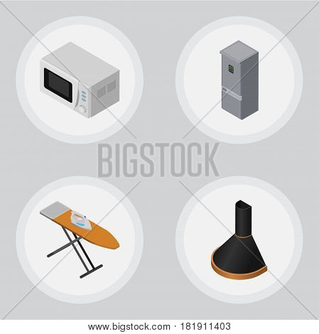 Isometric Electronics Set Of Cloth Iron, Microwave, Air Extractor And Other Vector Objects. Also Includes Kitchen, Cloth, Extractor Elements.