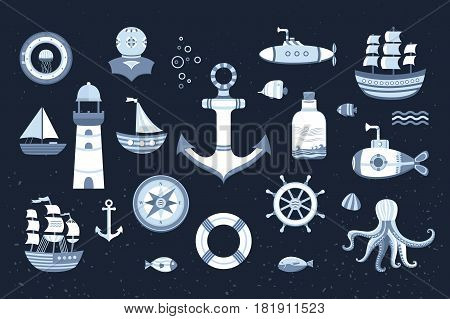 Collection of vector marine elements on the background with a texture. The kit symbols: anchor, ship, boat, lifeboat, lighthouse, helm, submarine, fish, compass and others. Illustration of sea life.