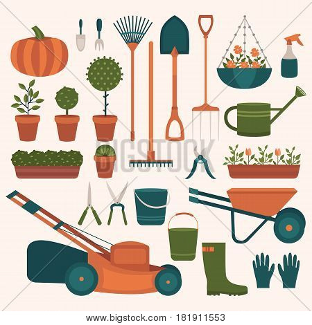 Collection of tools for gardening. Illustration of work in the garden in the summer. Set of vector elements: shovel, rake, lawn mower, flowers, watering can, bucket, wheelbarrow, rubber boots, gloves.