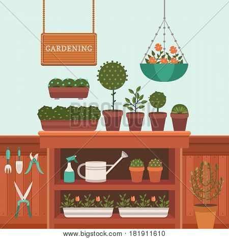 Vector illustration of a greenhouse for plants. Growing flowers. Shop flowers and plants. Work in the garden in the summer and spring. Tools for gardening. Flat style.