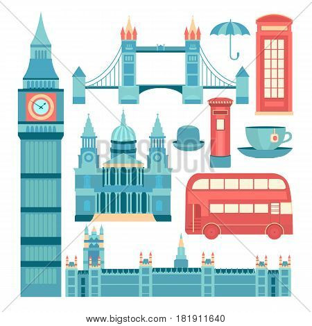 Set of vector icons London. Sights of Britain. Collection of elements United Kingdom. Illustration of England in flat style with telephone booth, mail box, up of tea, bus, umbrella and others.