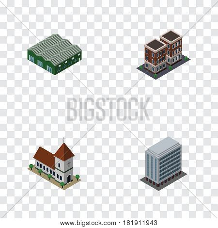 Isometric Building Set Of House, Chapel, Office And Other Vector Objects. Also Includes Warehouse, Depot, Building Elements.