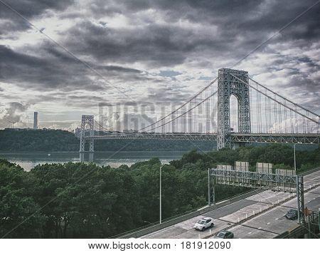 HDR view of the George Washington Bridge New York City.
