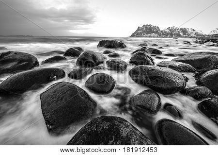 Lofoten islands. Beautiful Norway spring landscape. Black-white photo.