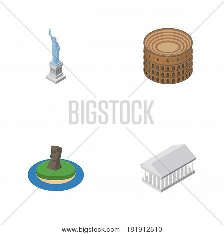 Isometric Architecture Set Of Athens, Coliseum, New York And Other Vector Objects. Also Includes Athens, America, Colosseum Elements.