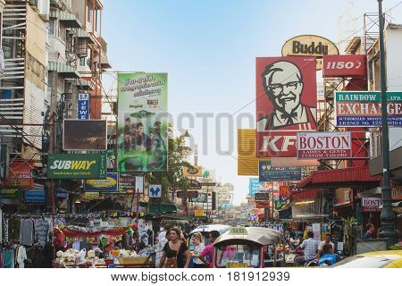 Bangkok Thailand - march 03 2014: Billboards Khao San road in Bangkok Thailand. The road is also known as