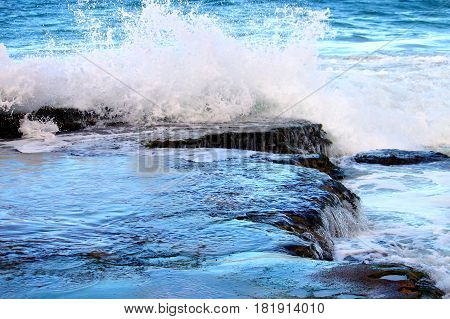 Waves crash along the Puerto Rico coastline at Guajataca Beach