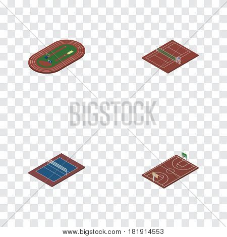 Isometric Training Set Of Volleyball, Run Stadium, Tennis And Other Vector Objects. Also Includes Basketball, Run, Volleyball Elements.