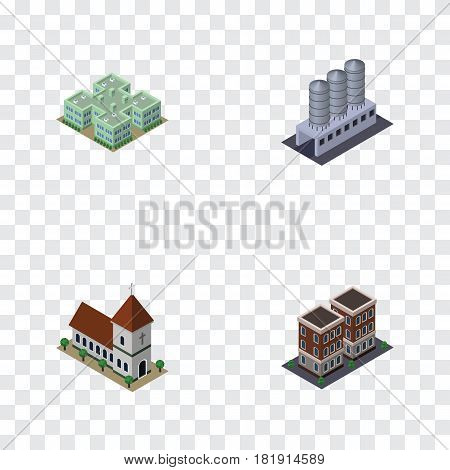 Isometric Construction Set Of Water Storage, Clinic, Chapel And Other Vector Objects. Also Includes Storage, Church, Hospital Elements.