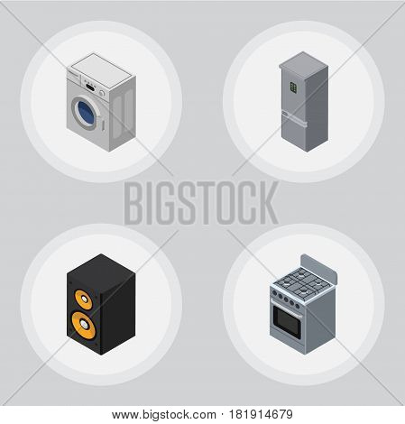 Isometric Electronics Set Of Music Box, Kitchen Fridge, Stove And Other Vector Objects. Also Includes Fridge, Loudspeaker, Kitchen Elements.